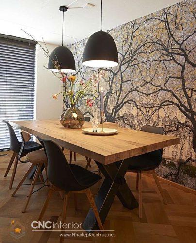 Bộ bàn ăn gỗ đẹp CNC-H 37
