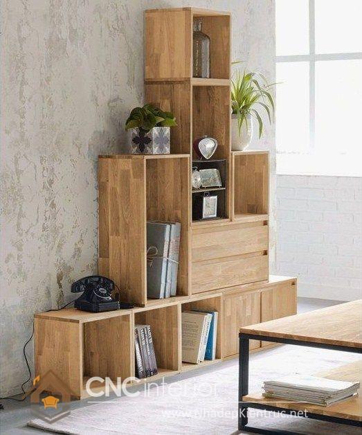 Mẫu kệ gỗ trang trí phòng khách 34