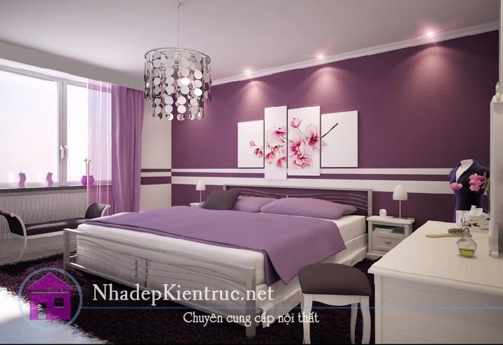 trang trí phòng ngủ màu tím 4