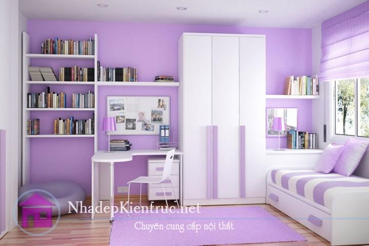 trang trí phòng ngủ màu tím 2