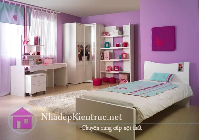 trang trí phòng ngủ màu tím 3