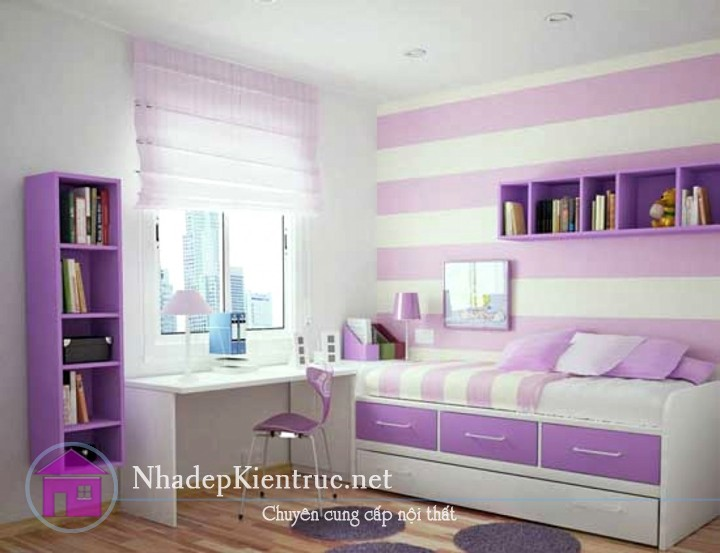 trang trí phòng ngủ màu tím 5