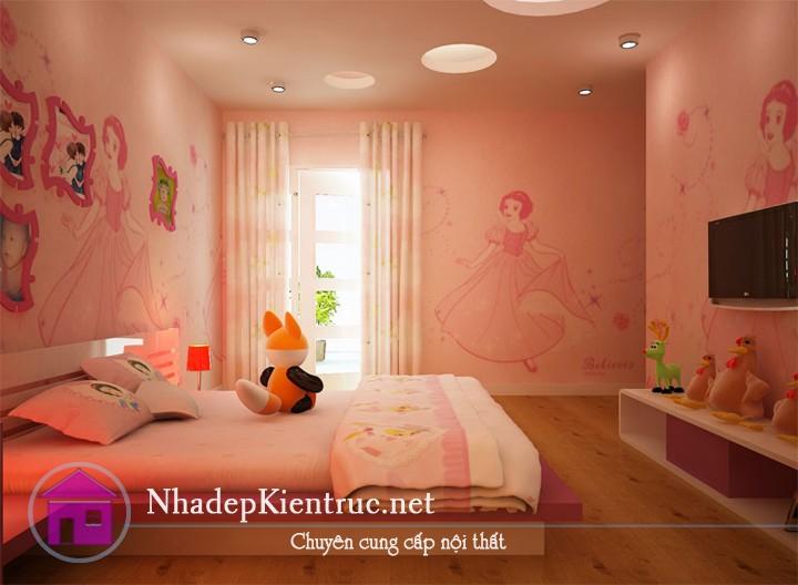 cách trang trí phòng ngủ cho bé gái với giấy dán tường