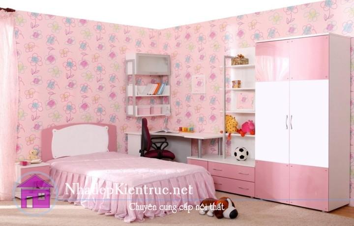 cách trang trí phòng ngủ cho bé gái với tủ đồ màu hồng