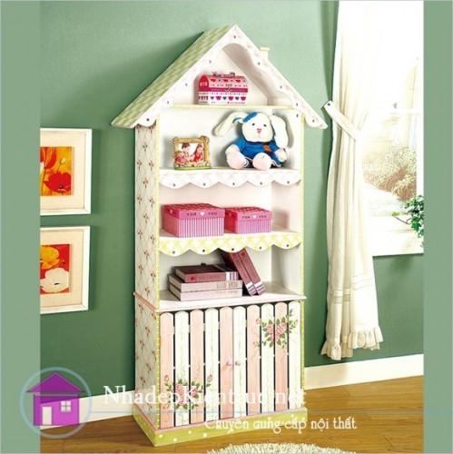 Cách trang trí phòng ngủ cho bé gái với tủ sách đáng yêu