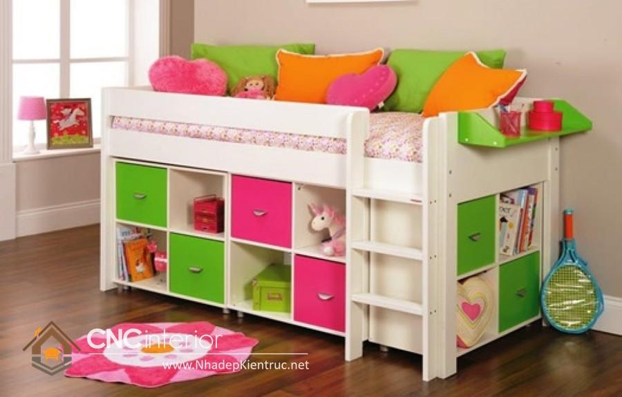 mẫu giường tấng đa năng cho bé