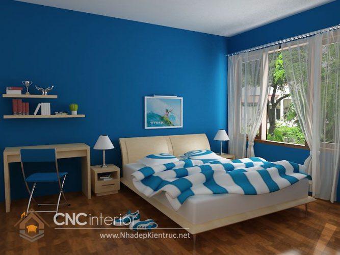 Phòng ngủ xanh dương đẹp