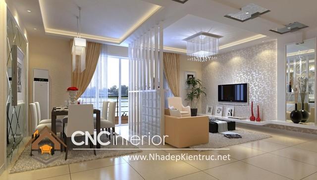 Thiết kế vách ngăn phòng khách và bếp (1)