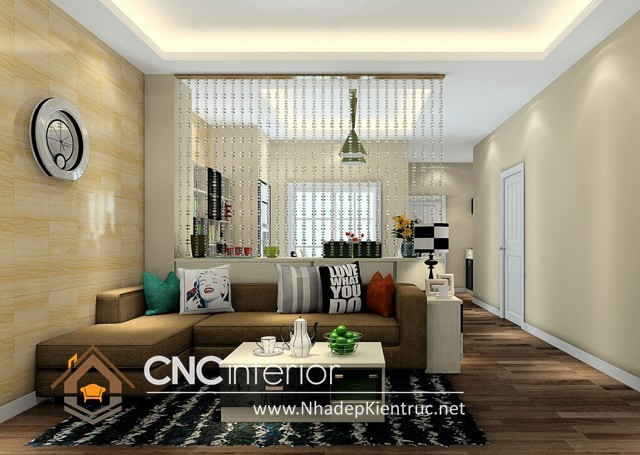 thiết kế vách ngăn phòng khách và bếp (4)