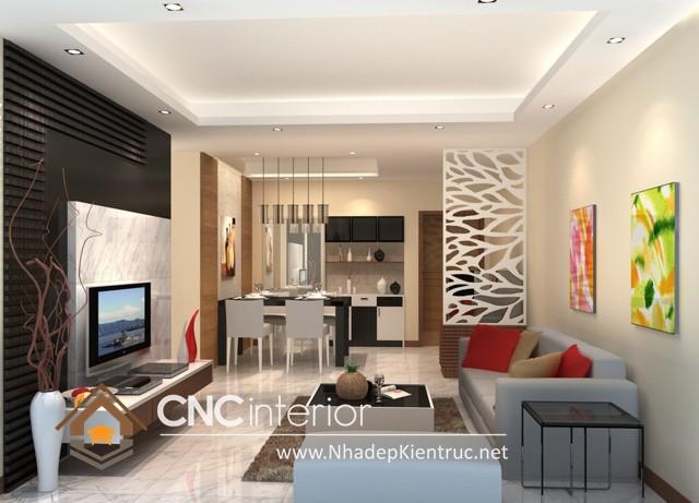 thiết kế vách ngăn phòng khách và bếp (6)