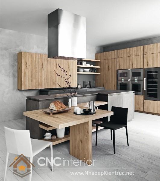 không gian bếp đẹp cho nhà ống 07