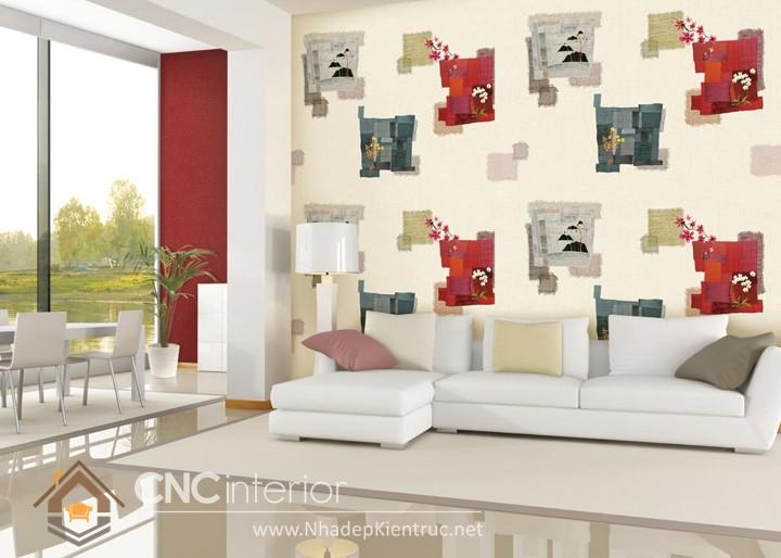 mẫu giấy dán tường phòng khách đẹp 01
