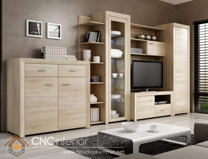 Tủ gỗ trang trí phòng khách 04