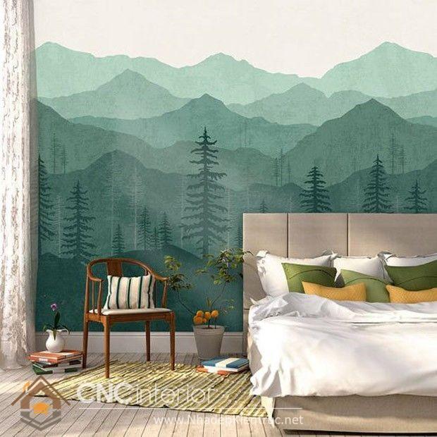 Giấy dán tường phòng ngủ màu xanh 01