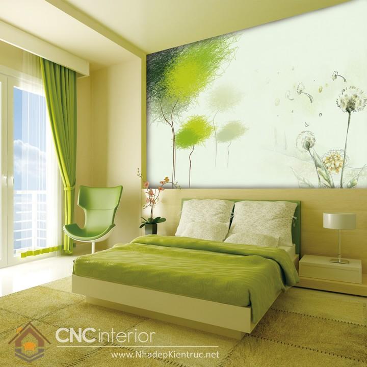 giấy dán tường phòng ngủ màu xanh 03