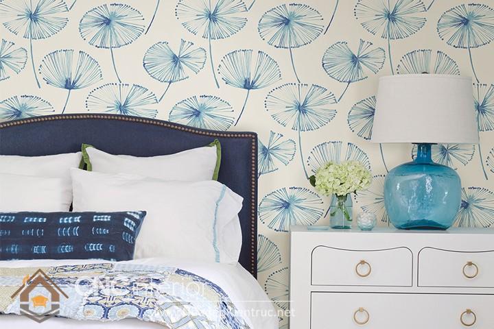 giấy dán tường phòng ngủ màu xanh 05