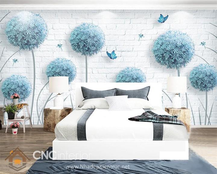 Giấy dán tường phòng ngủ màu xanh 06