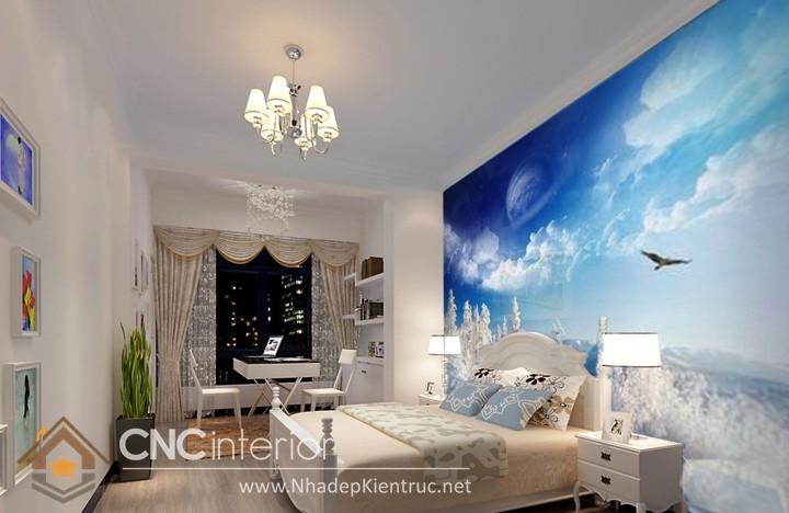Giấy dán tường phòng ngủ màu xanh 07