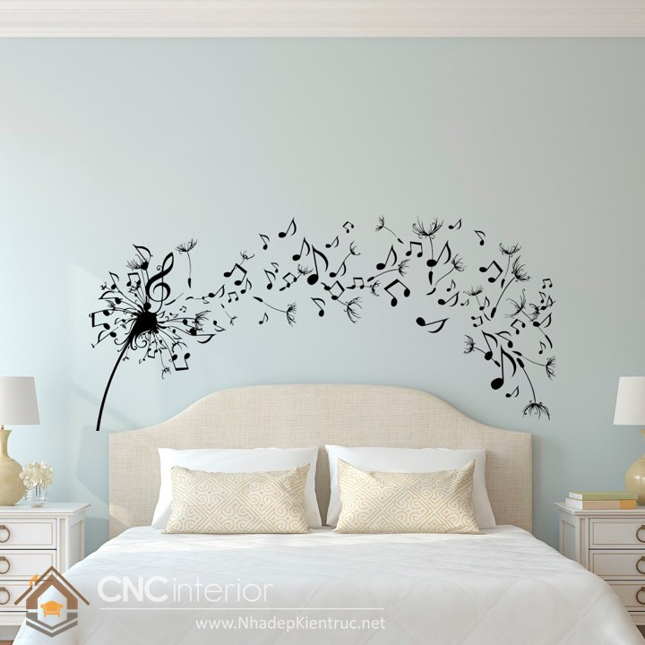 giấy dán tường phòng ngủ màu xanh 08