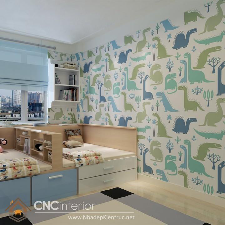 Giấy dán tường phòng ngủ màu xanh 10