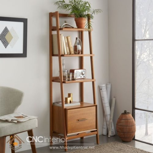 Mẫu kệ gỗ trang trí phòng khách 01