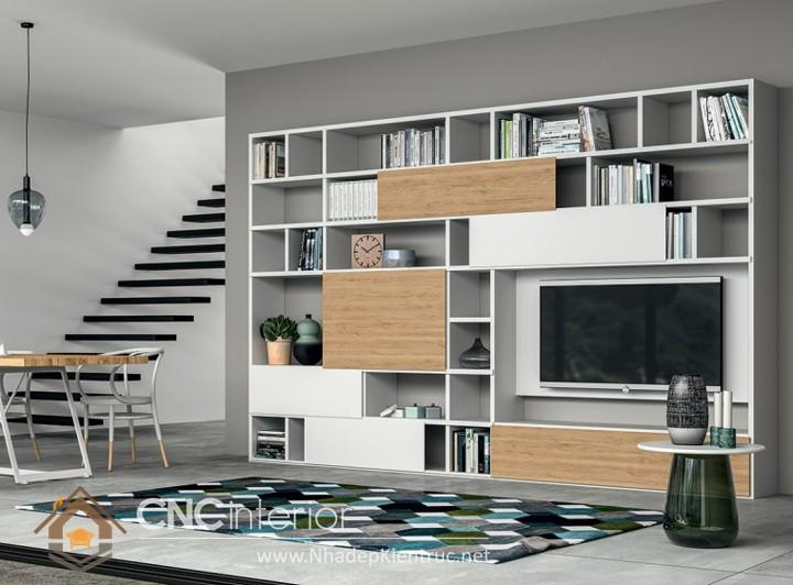 Mẫu kệ gỗ trang trí phòng khách 04