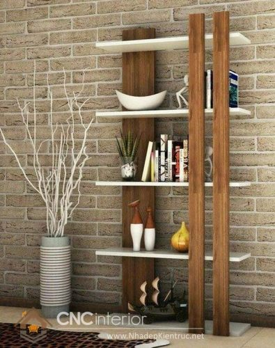 Mẫu kệ gỗ trang trí phòng khách 05