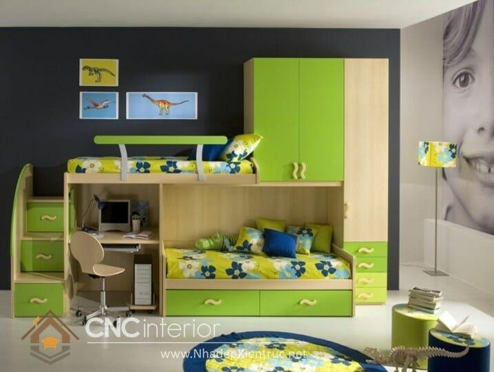 Giường kết hợp bàn học và tủ đồ 04