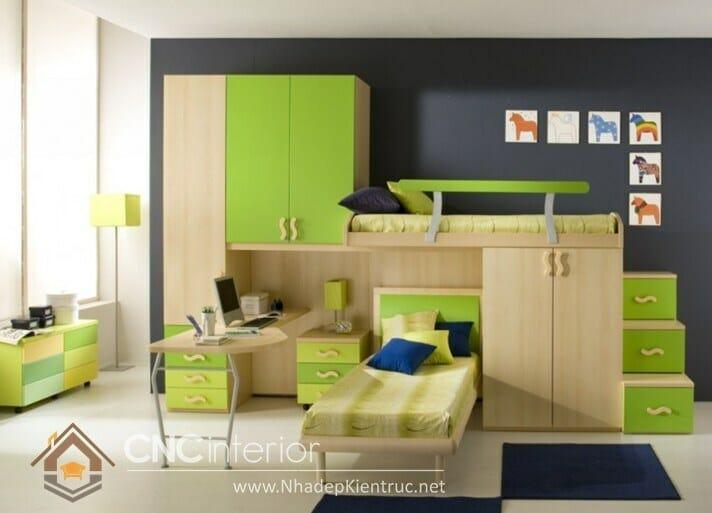 Giường kết hợp bàn học và tủ đồ 05