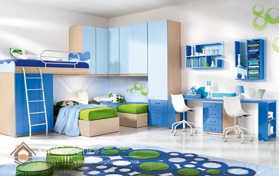 Giường kết hợp bàn học và tủ đồ gam 2