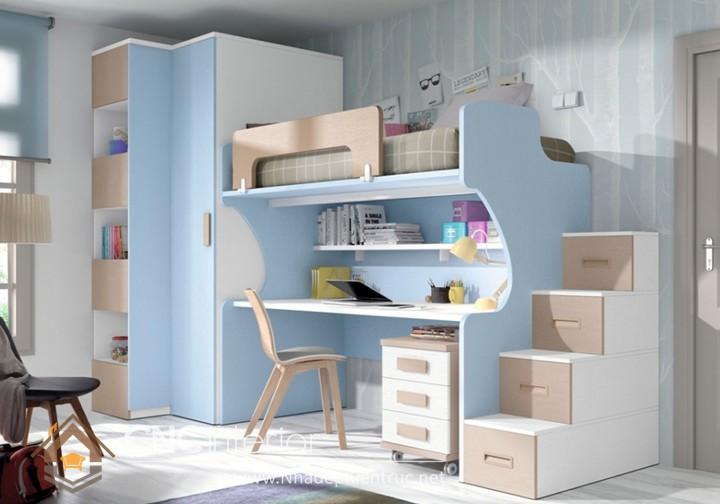 Giường kết hợp bàn học và tủ đồ 06