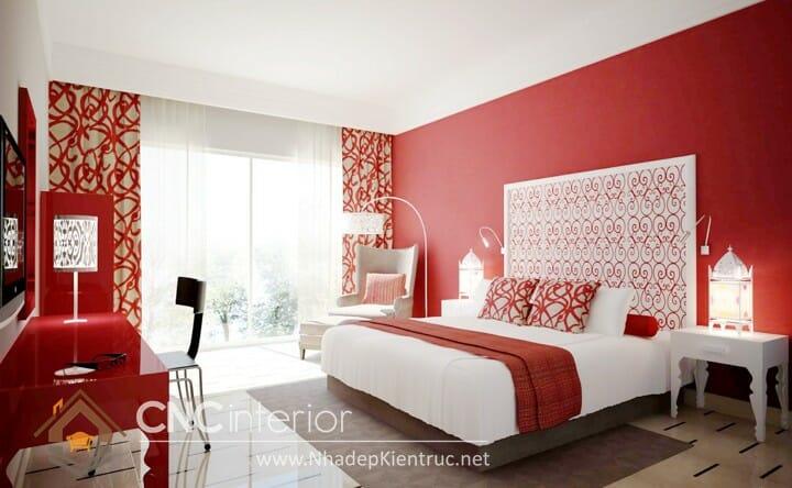 phòng ngủ màu đỏ 04