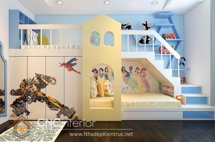 10 mẫu phòng ngủ màu xanh da trời dành cho trẻ em 04