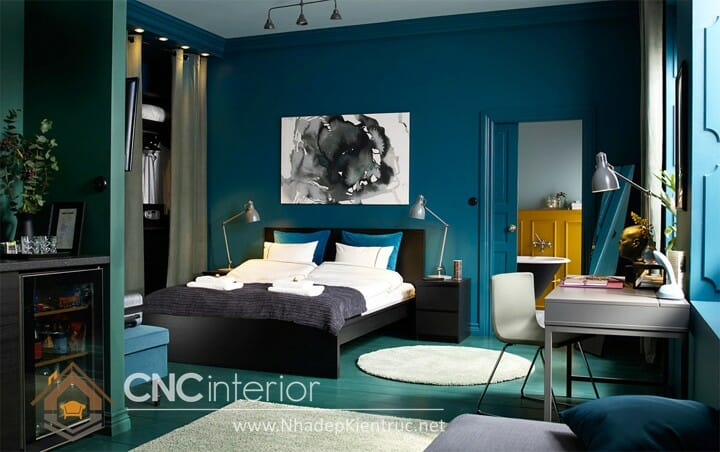 phòng ngủ màu xanh dương 04