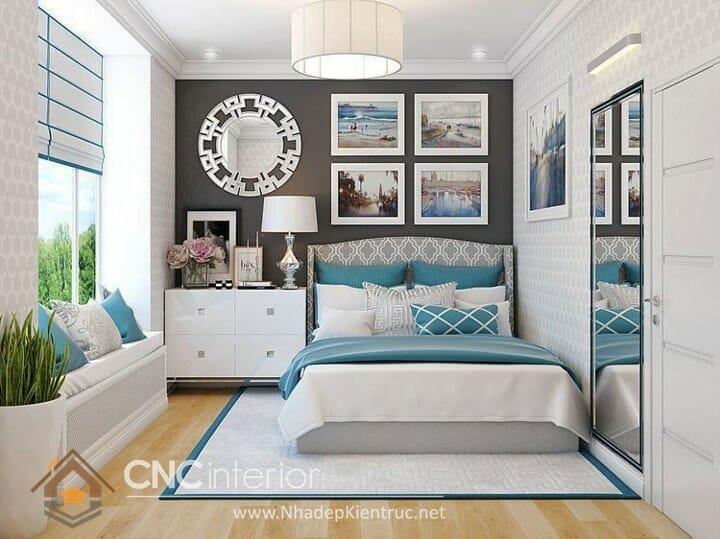 phòng ngủ màu xanh dương 09
