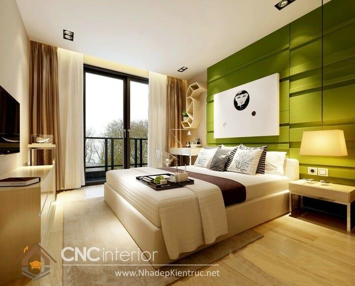Phòng ngủ màu xanh lá cây trẻ trung đầy phong cách 01