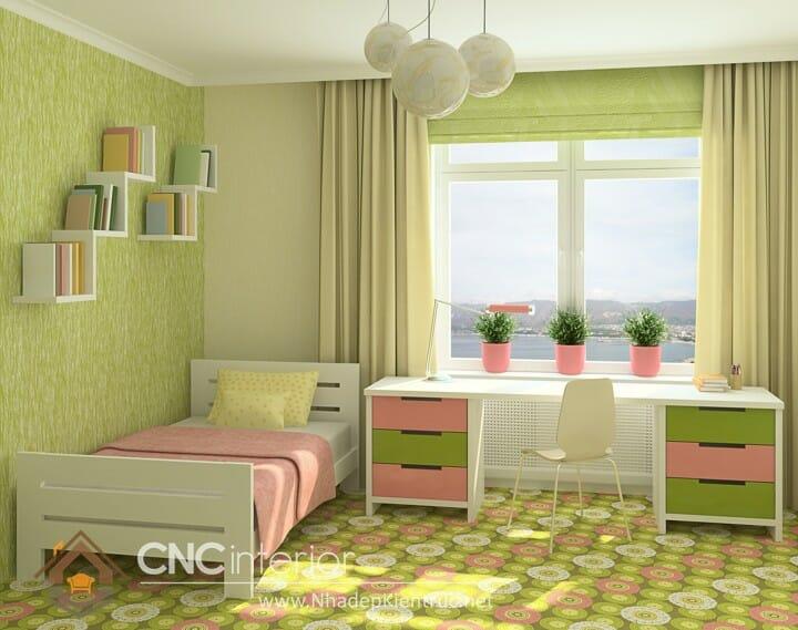 Phòng ngủ màu xanh lá cây trẻ trung đầy phong cách 10