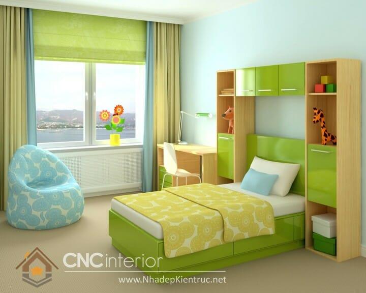 Phòng ngủ màu xanh lá cây trẻ trung đầy phong cách 11