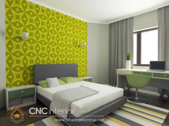 Phòng ngủ màu xanh lá cây trẻ trung đầy phong cách 12