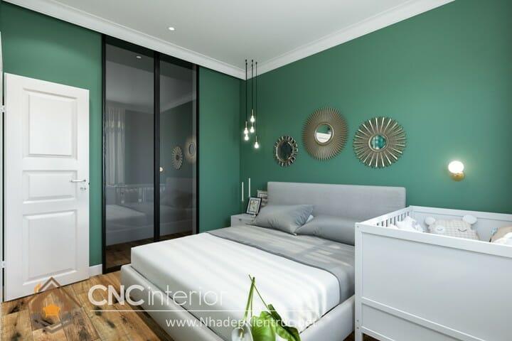 Phòng ngủ màu xanh lá cây trẻ trung đầy phong cách 02