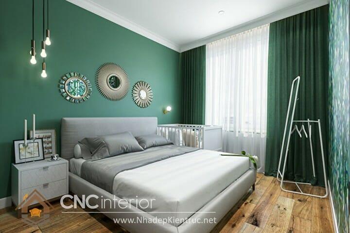 Phòng ngủ màu xanh lá cây trẻ trung đầy phong cách 03