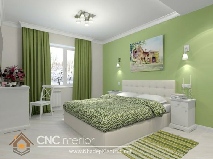 Phòng ngủ màu xanh lá cây trẻ trung đầy phong cách 05