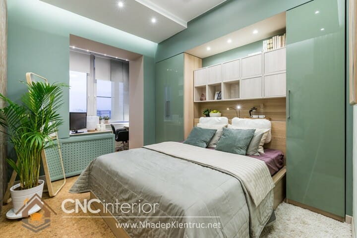 Phòng ngủ màu xanh lá cây trẻ trung đầy phong cách 06