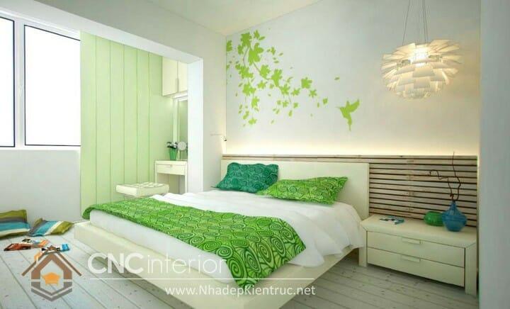 Phòng ngủ màu xanh lá cây trẻ trung đầy phong cách 07