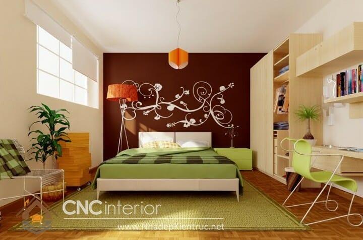 Phòng ngủ màu xanh lá cây trẻ trung đầy phong cách 08