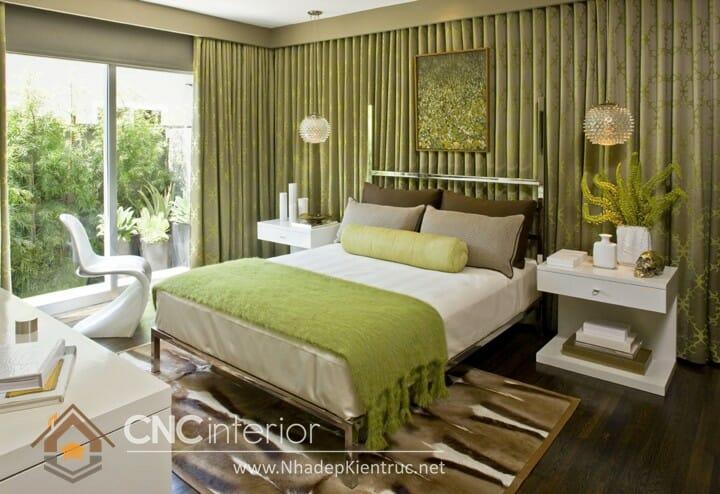 Phòng ngủ màu xanh lá cây trẻ trung đầy phong cách 09