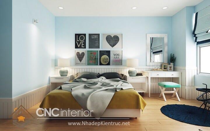 phòng ngủ màu xanh ngọc 01