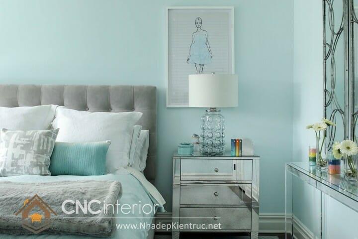 phòng ngủ màu xanh ngọc 10
