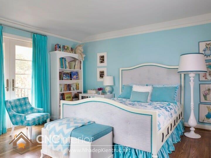 phòng ngủ màu xanh ngọc 11