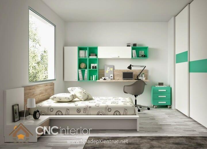 phòng ngủ màu xanh ngọc 05